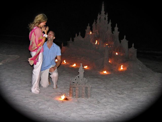 How to Propose: beautiful sand castle proposal on the beach in Key Biscayne    #engagement #proposals