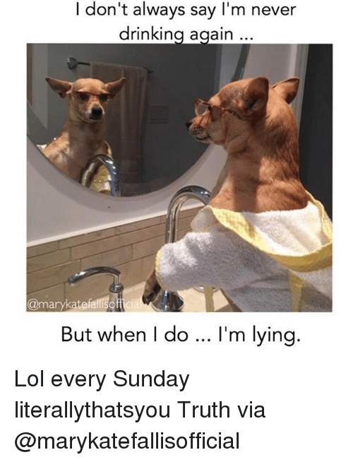 I'm Never Drinking Again Meme : never, drinking, again, Drinking,, Memes:, Don't, Always, Never, Drinking, Again, Marykate, Falli, Lying, Every, Sunday, Literallythatsyou, Truth