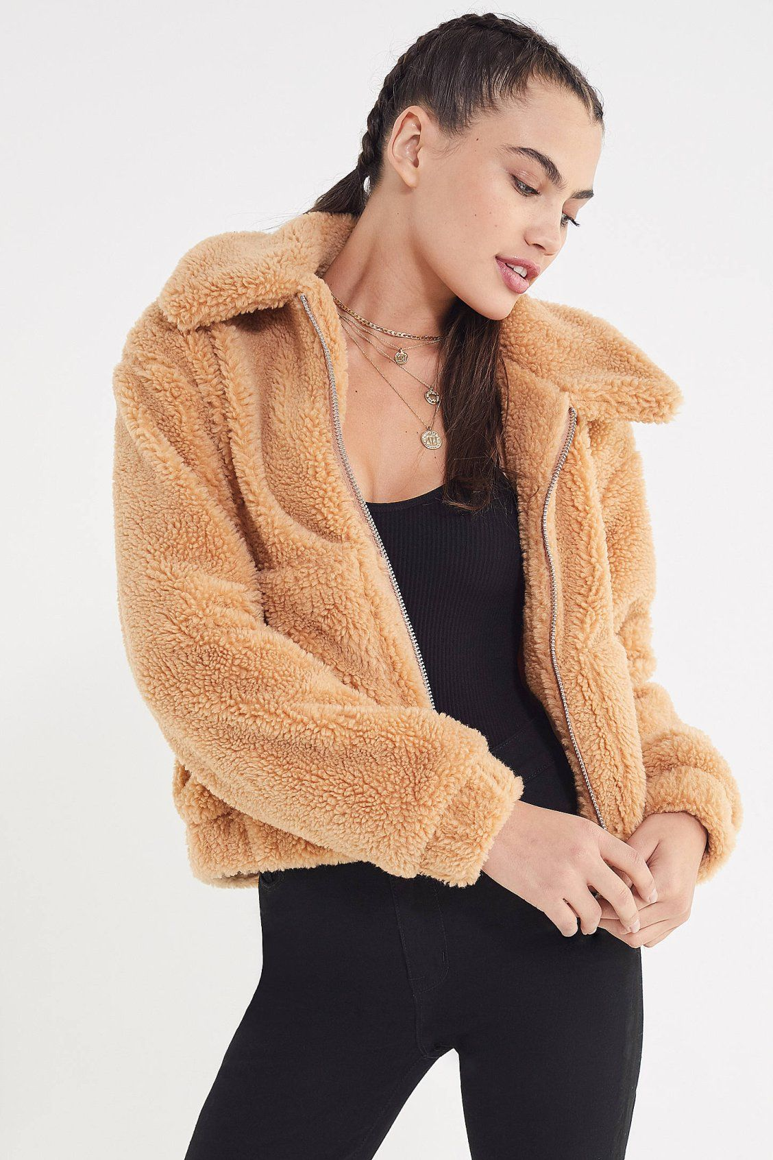 045566a6c UO Cropped Teddy Jacket