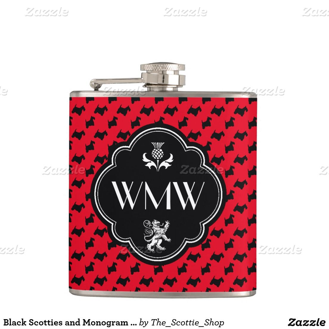 Black Scotties and Monogram Personalize Hip Flask