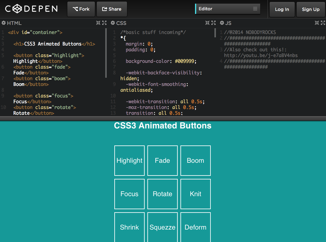 CSS3 Animated Buttons | CodePen | Web Development/Design