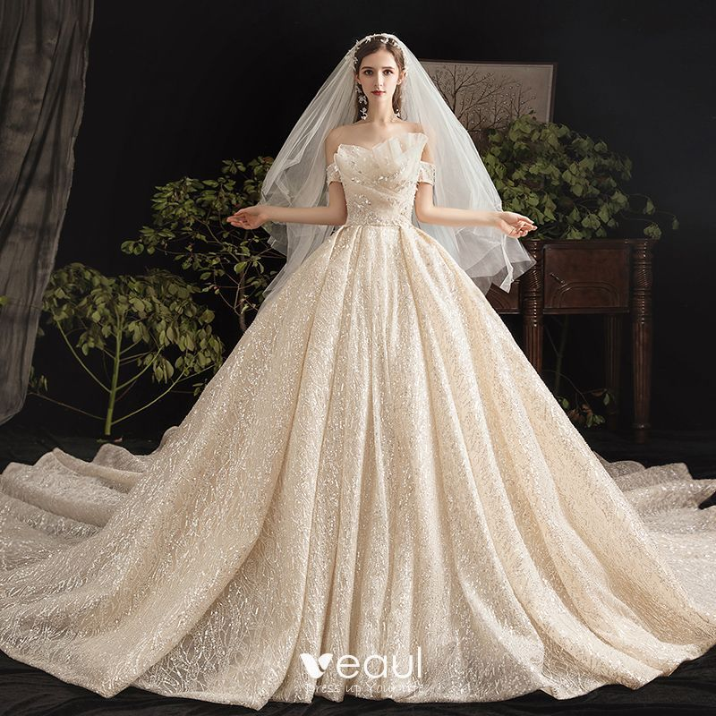 Bling bling champagne wedding dresses 2019 ball gown off