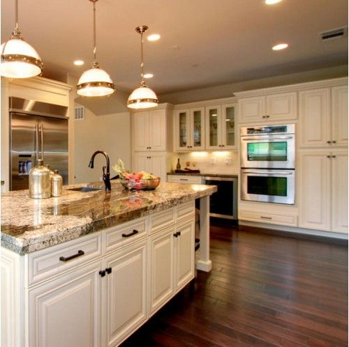 "White Painted Wood Floor With Modern Cabinetry: 5"" Engineered Hand Scraped Chocolate Hickory Hardwood"
