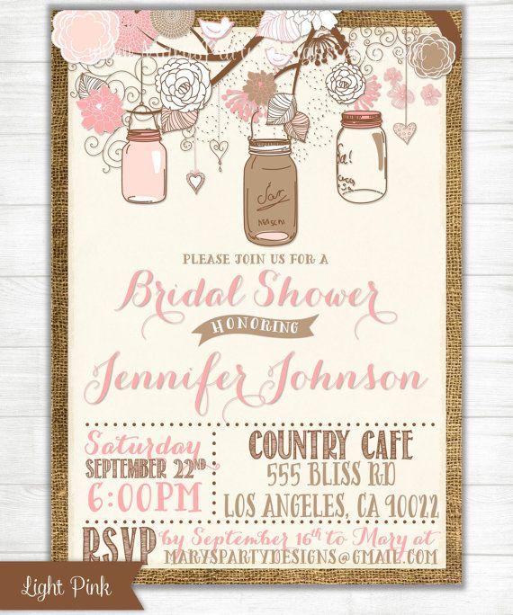 81c86a0fc301 Digital HIGH RESOLUTION invitation. ☆•☆ HERES HOW. Shabby Chic Mason Jars  Bridal ...