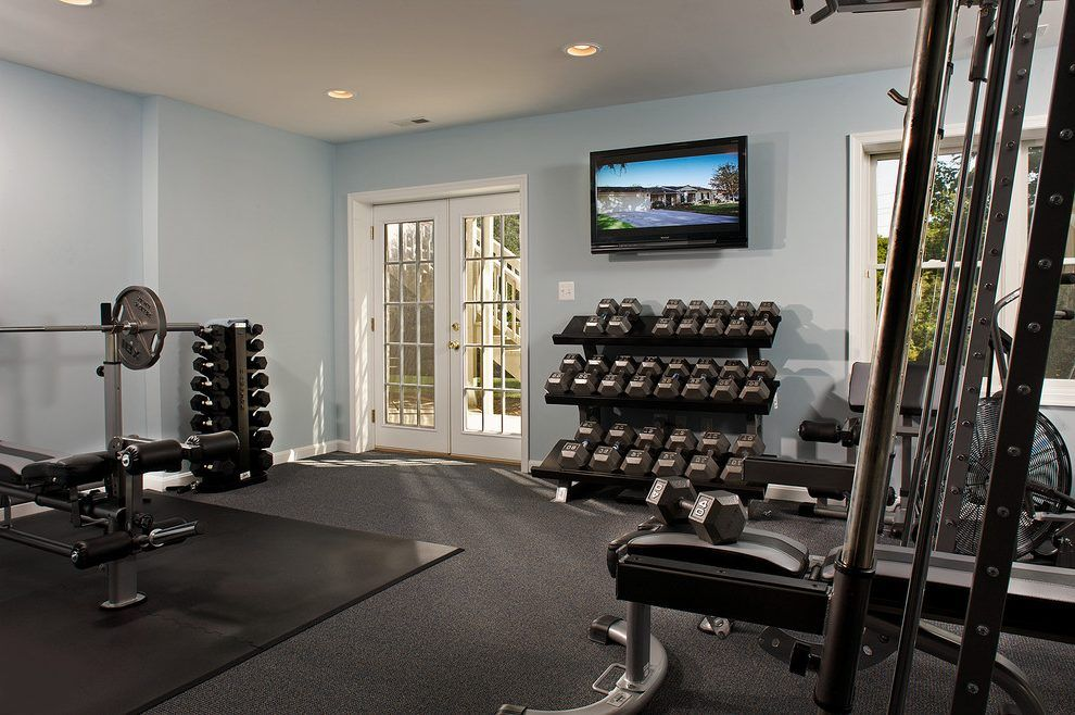 Weight room home gym transitional with basement contemporary home