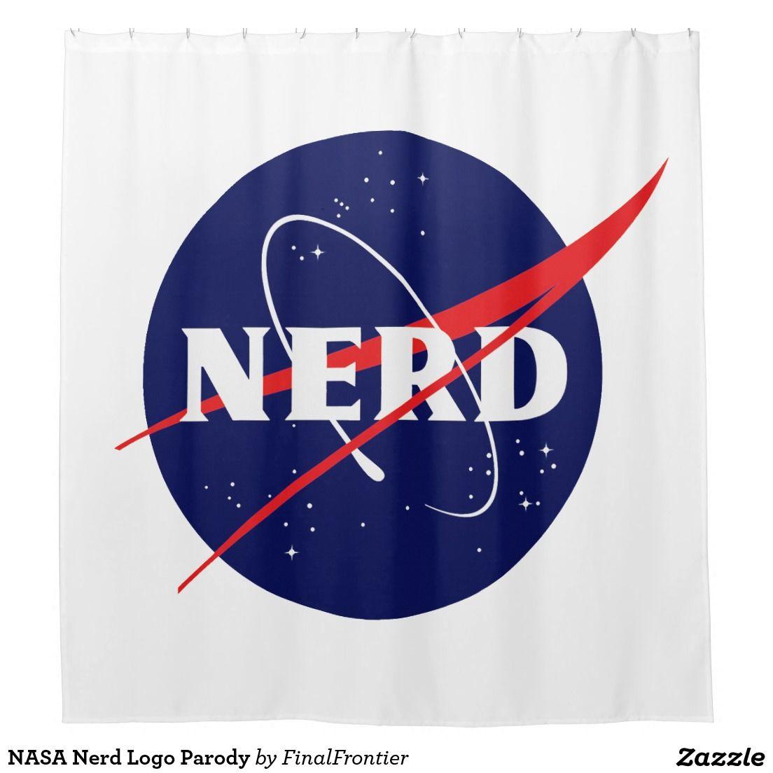 NASA Nerd Logo Parody Shower Curtain