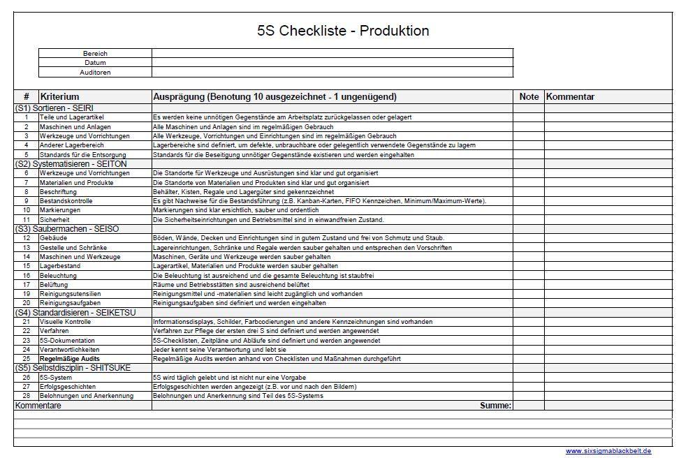5s Methode Checkliste Produktion Checkliste Liste Beschriftung