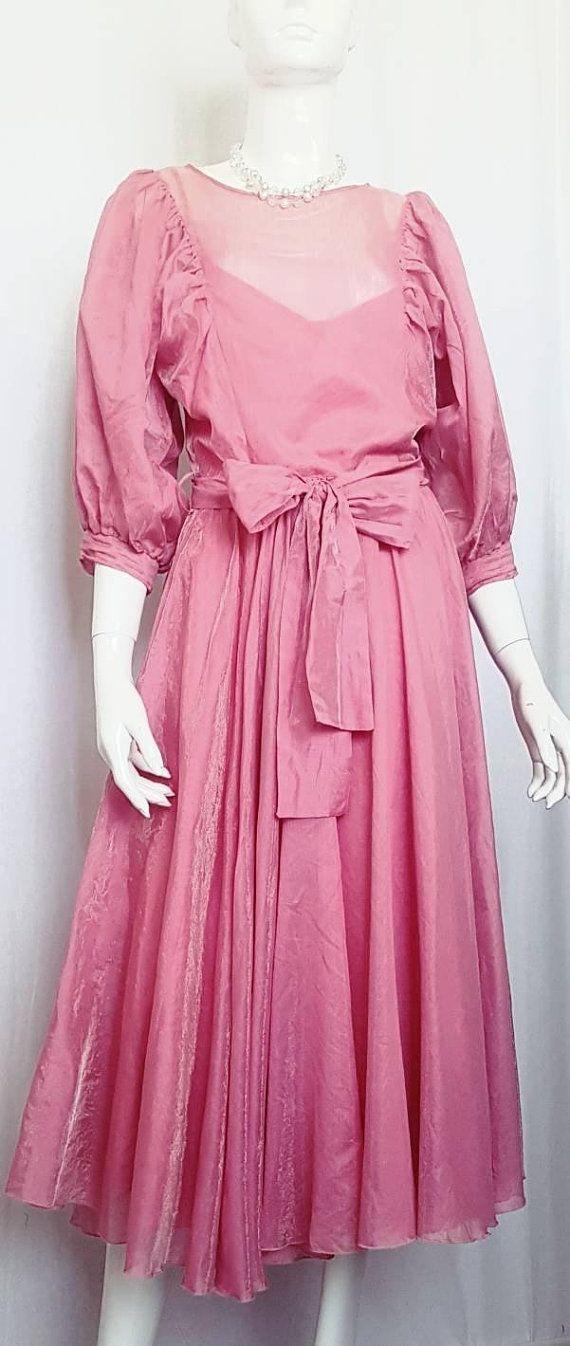 Vintage 70's VERA MONT PARIS Rose Pink Organdy Blouson Mid ...