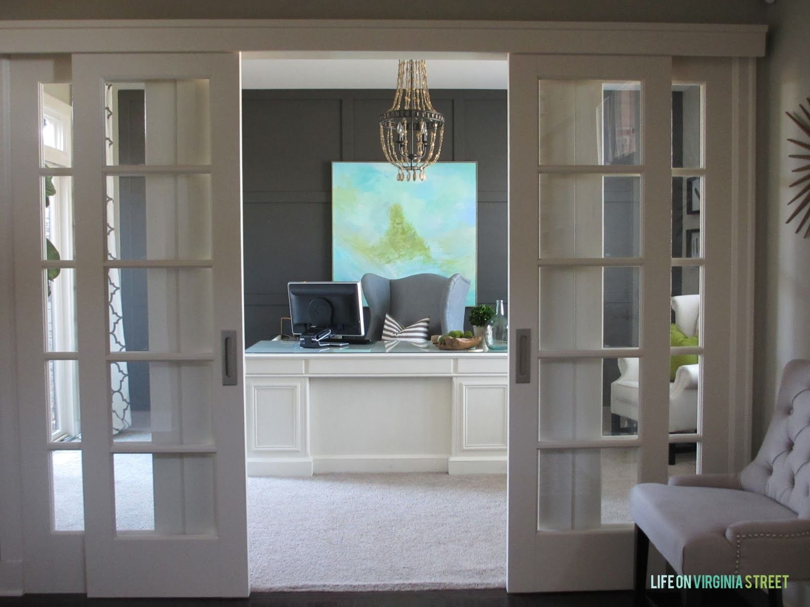Interior sliding french doors - Home Office Makeover Reveal Sliding French Doorssliding