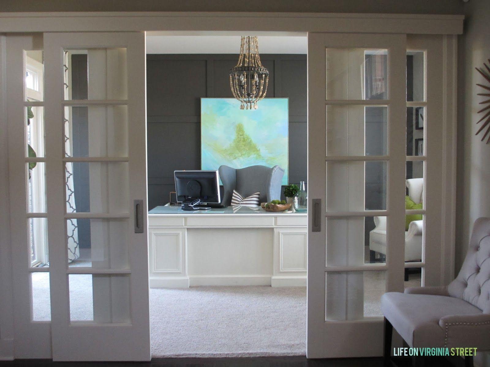Interior sliding door - Home Office Makeover Reveal Sliding French Doorssliding