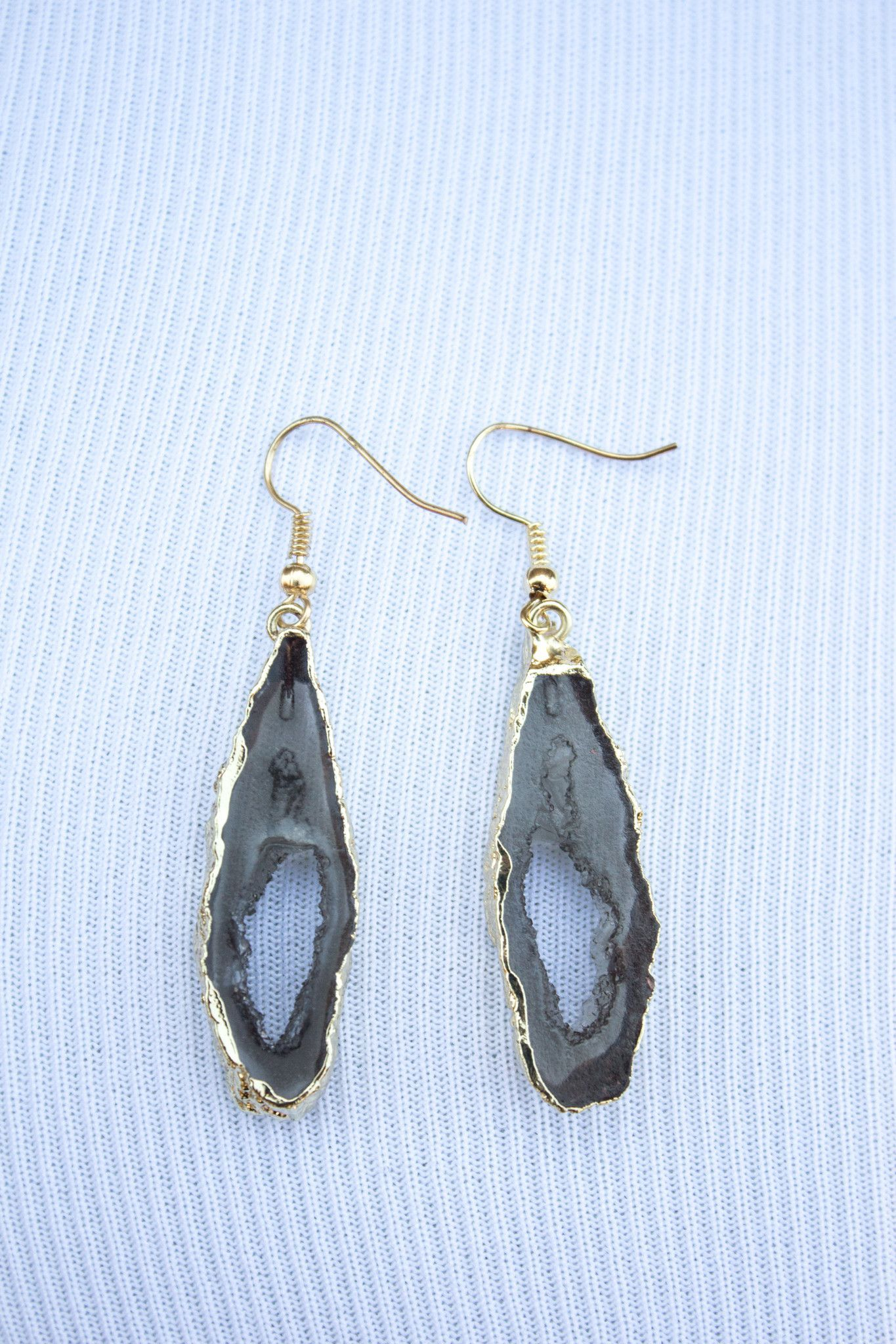 Dark Gray Faux Agate Earrings