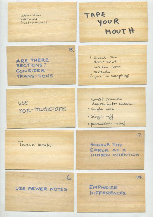 Brian Eno Cards Oblique Strategies Pdf To Jpg