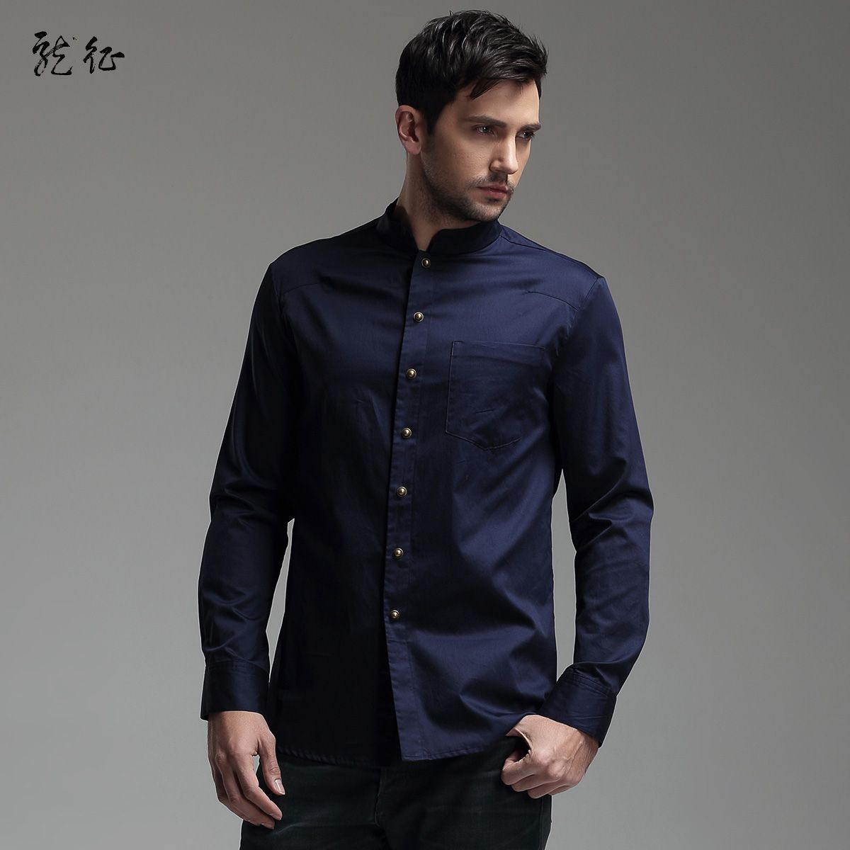 Modern Mandarin Collar Snap Button Shirt - Dark Blue - Chinese ...
