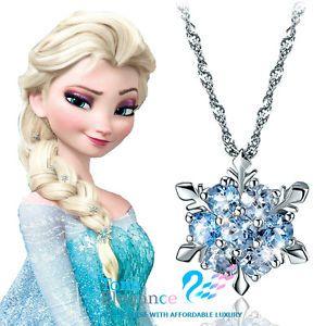 Image is loading White-gold-gf-Sterling-silver-Frozen-Elsa-SNOWFLAKE-