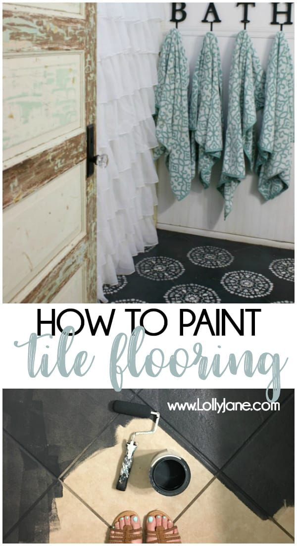 Hate your tile floors  Paint them is part of Painting bathroom tiles, Painting over tiles, Bathroom tile diy, Painting tile floors, Painting tile, Porch tile - Check out how easy it is to chalk paint your tile floors! Transform your tile floors from blah to ooh la lah using a couple pints of paint and some sealer!