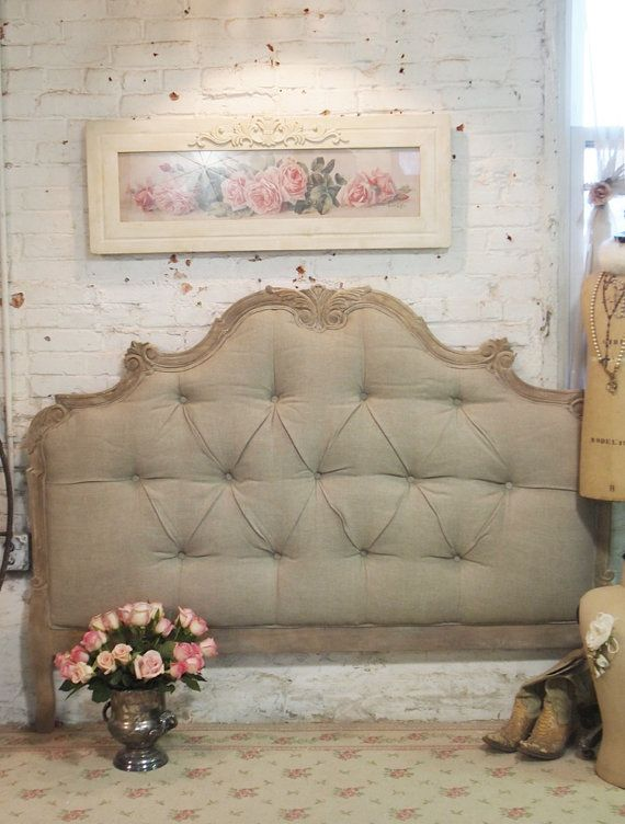 painted cottage chic shabby tufted upholstered romantic french queen headboard bd07 via etsy