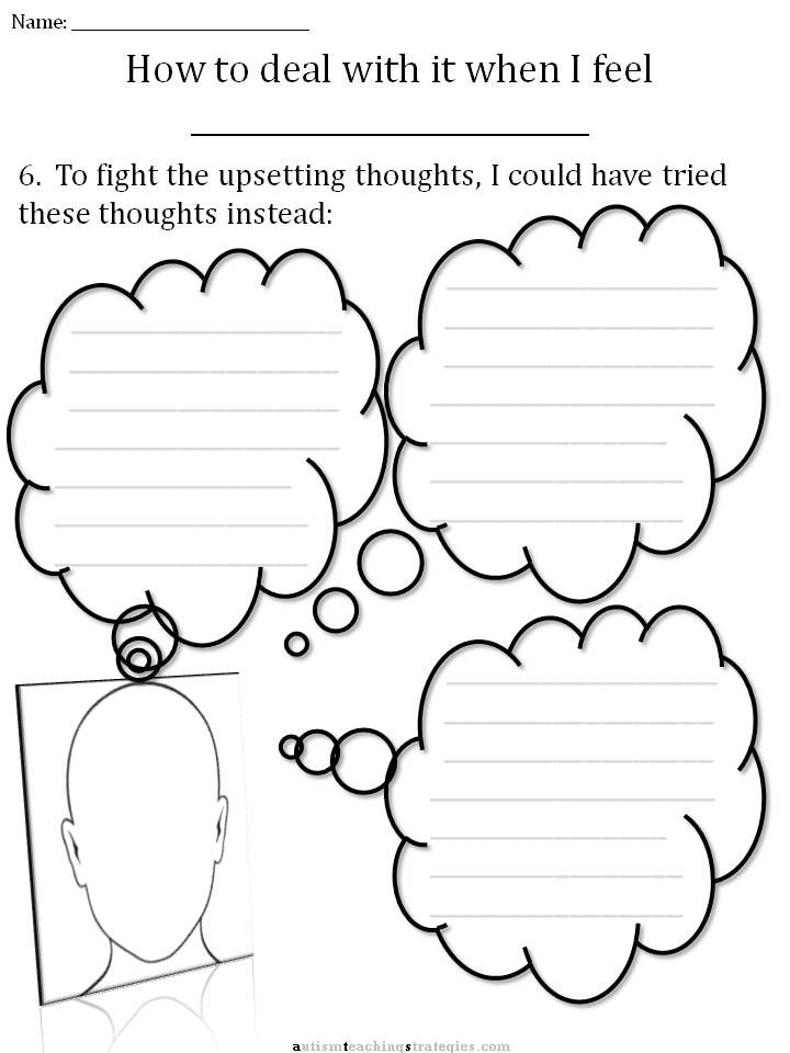 This worksheet would be great to use with students with autism – Cbt Therapy Worksheets