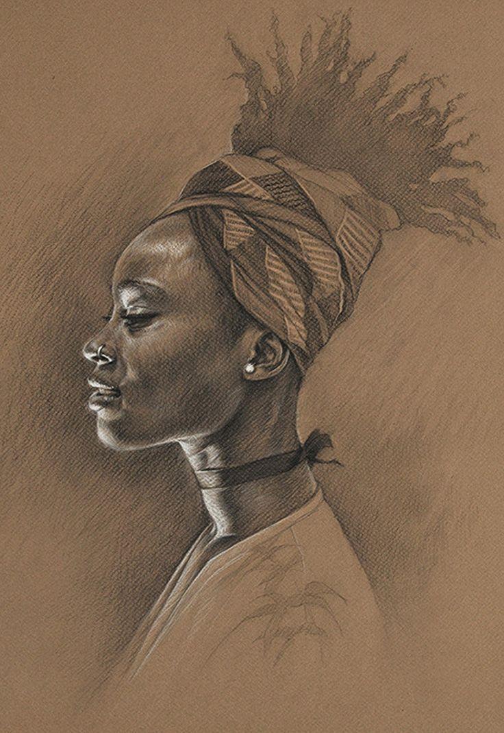 Kate zambrano figurative art female head african american black woman face portrait drawing buscar con google