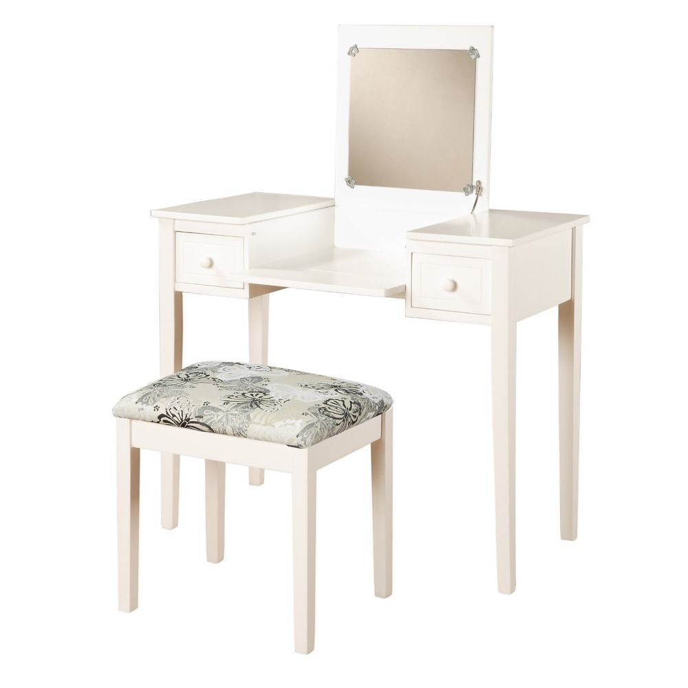 Bedroom Furniture For Teen Girls Vanity Set Makeup With Drawers Mirror &  Seat