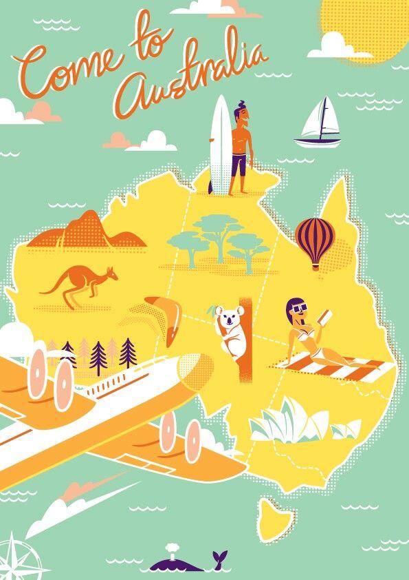 Vintage travel prints  Australia | travel agency design in