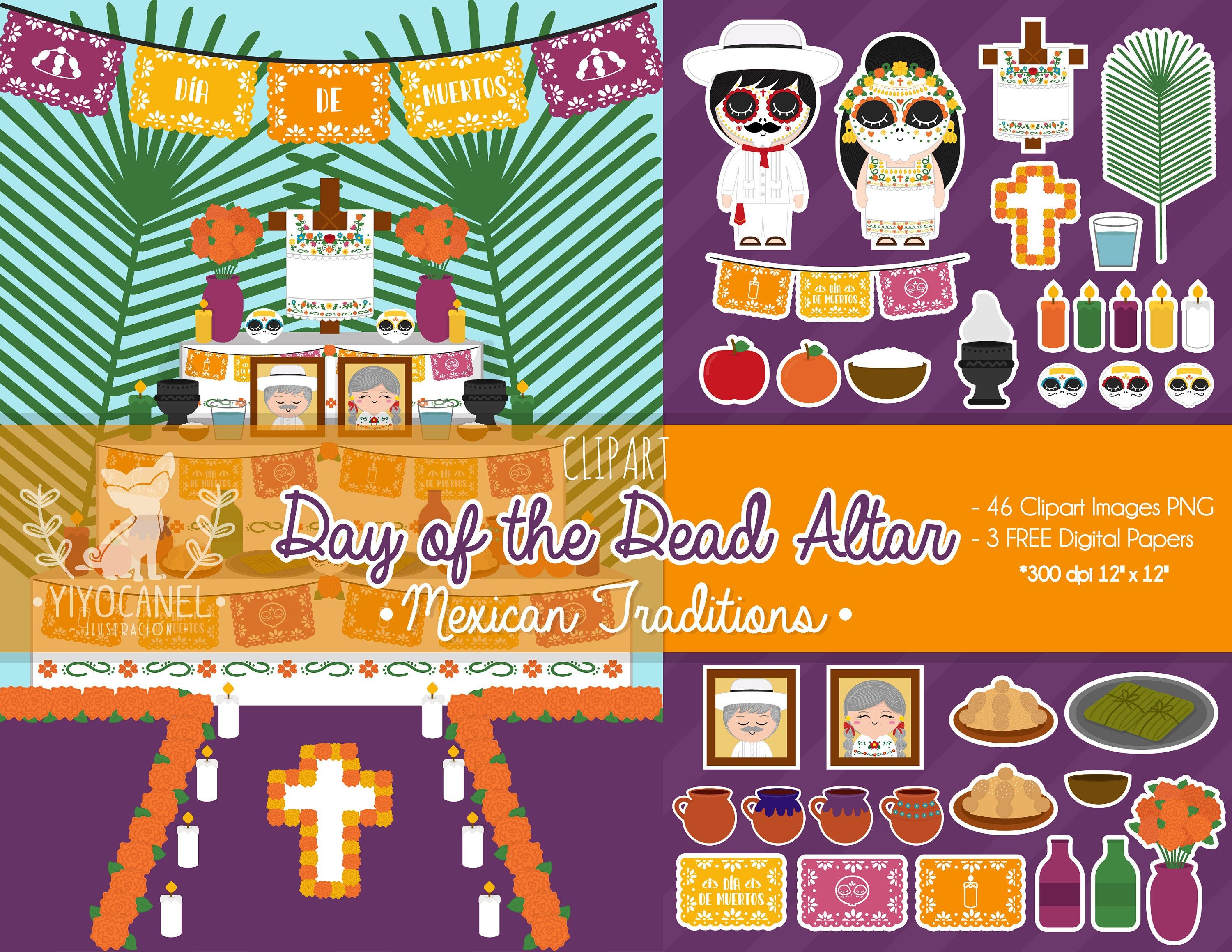 Day Of The Dead Clipart Mexican Altar Clipart Mexican Digital Paper Mexican Traditions Skulls Clipart Mexican Clipart Day Of The Dead In 2020 Clip Art Digital Paper Mexican Traditions