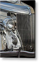 1936 Ford Stainless Steel Grille Metal Print by Jill Reger