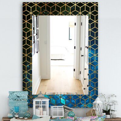 East Urban Home Capital Honeycomb Modern Frameless Accent Mirror Size Accent Mirrors Contemporary Wall Mirrors Traditional Mirrors