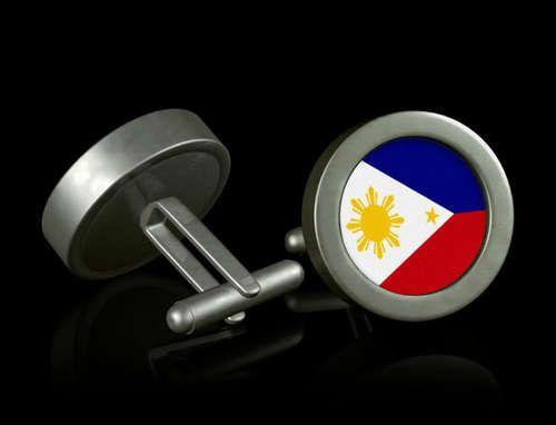 New Philippines Flag Cufflinks Filipino Silver Mens Wedding