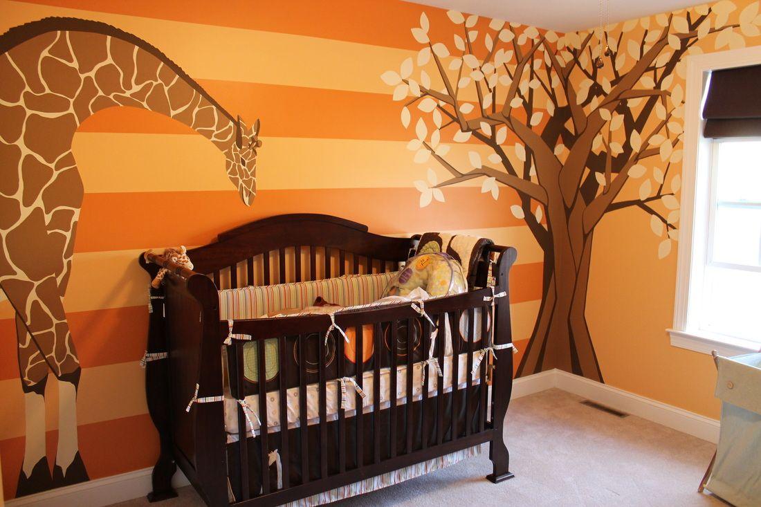 Giraffe Baby Room Mural With Tree Orange Hollylima Com