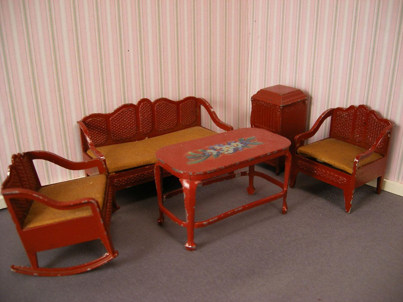 Vintage Tootsie Toy Dollhouse Furniture, Large Scale Bedroom ...