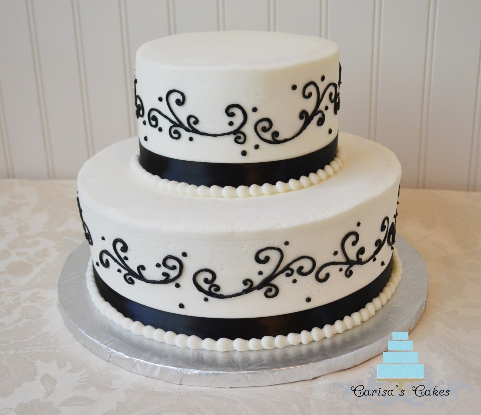 black on white wedding cakes | rounds white cake with buttercream ...