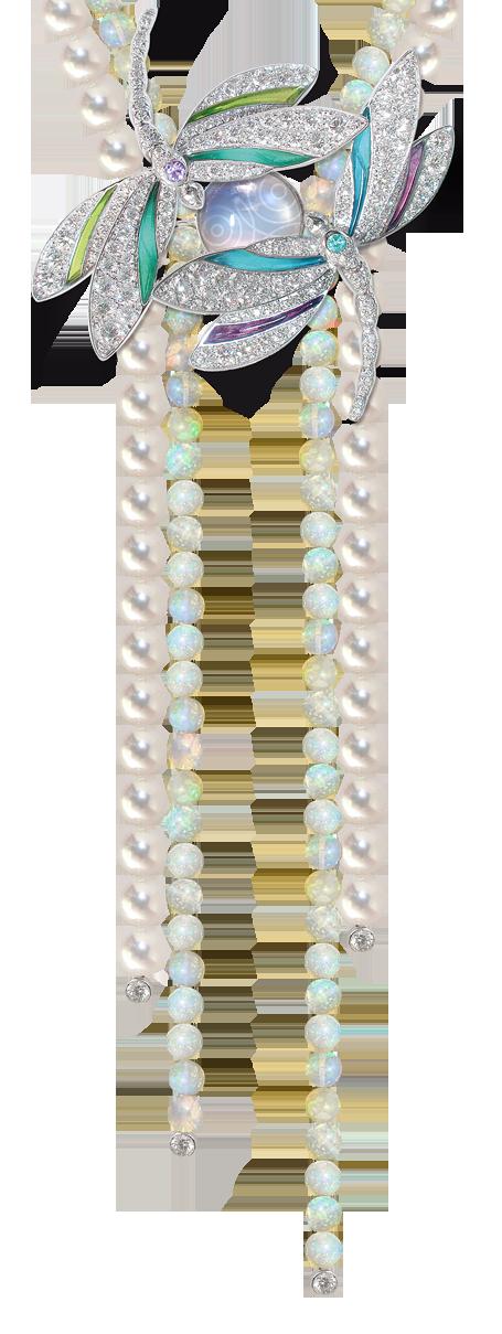 Mathon Paris 'Ephémère' necklace / Brooch in White gold with Diamonds, Plique-à-jour, Purple sapphires, Paraïba tourmaline, Opals and Pearls