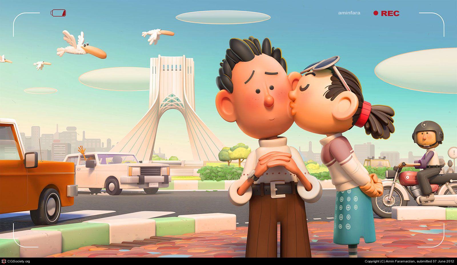 A Simple Kiss By Amin Faramarzian 3d Cgsociety Art 3d