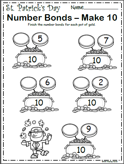 St. Patrick's Number Bonds Worksheet - Make 10 - Madebyteachers Number  Bonds Worksheets, Number Bonds, Kindergarten Math Worksheets