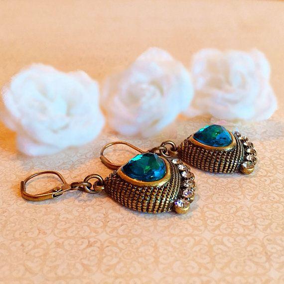 f8d529fea5e3 Egyptian Earrings - Teal - Statement Earrings - Crystal - CLEOPATRA ...