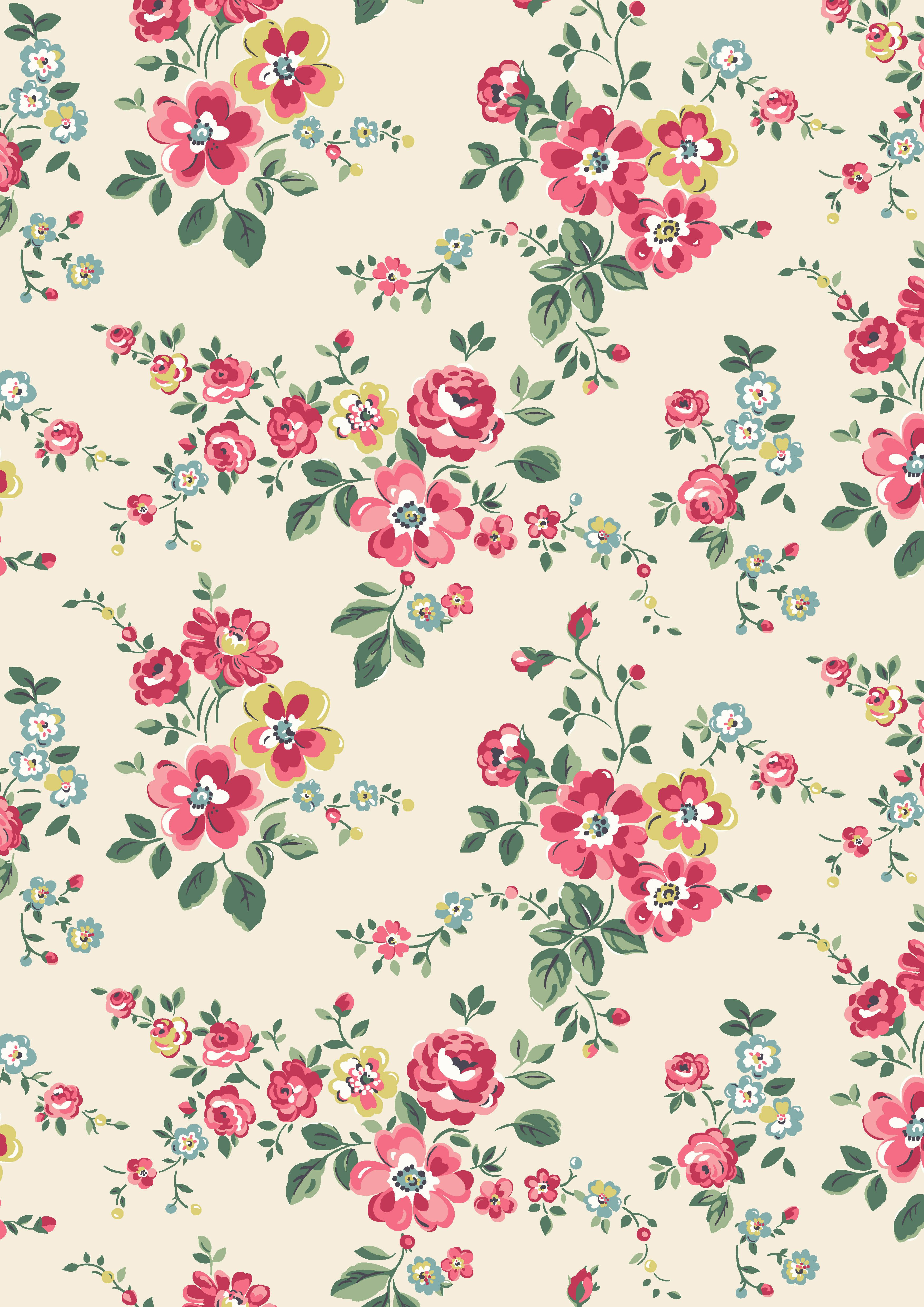 Wallpaper Cath Kidston Iphone Thorp Flowers A Pretty Trailing Floral In Juicy Orchard