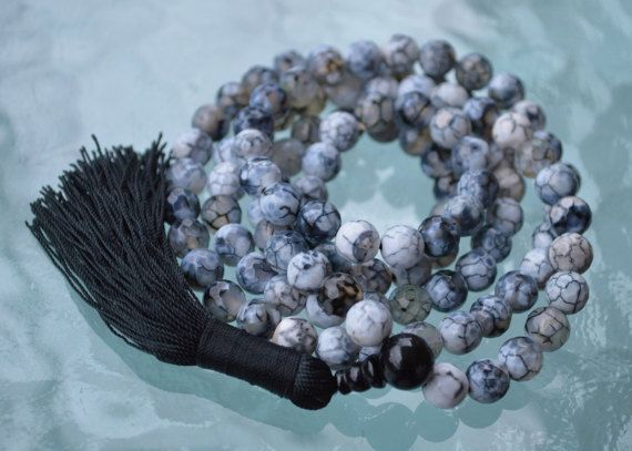 BLESSED & ENERGIZED RAREST FORM OF FACETED NATURAL DRAGON VEIN AGATE (108+1) 8MM BEADS JAAP JAPA MALA ROSARY-POSITIVE ENERGY, HEALING, INNER