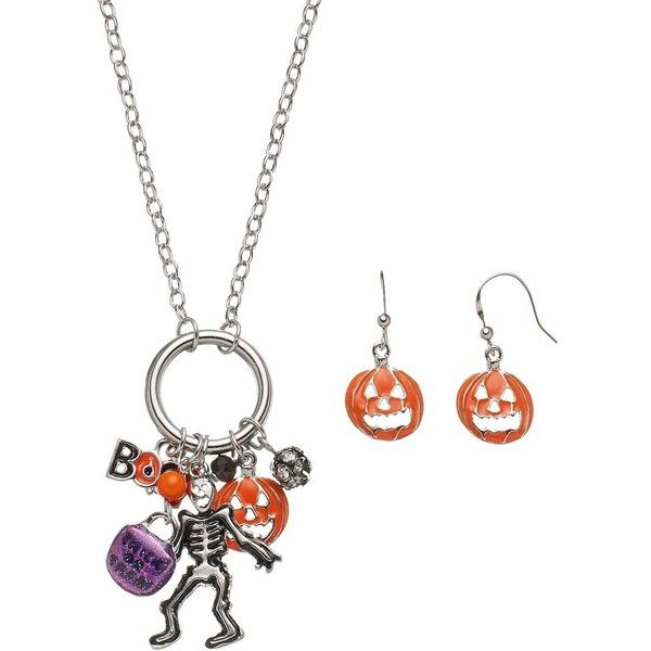 """Halloween Skeleton & """"Boo"""" Charm Necklace & Earring Set ($8.40) ❤ liked on Polyvore featuring jewelry, multicolor, multi color jewelry, skeleton jewelry, silver jewelry set, lobster clasp charms and silver jewellery"""