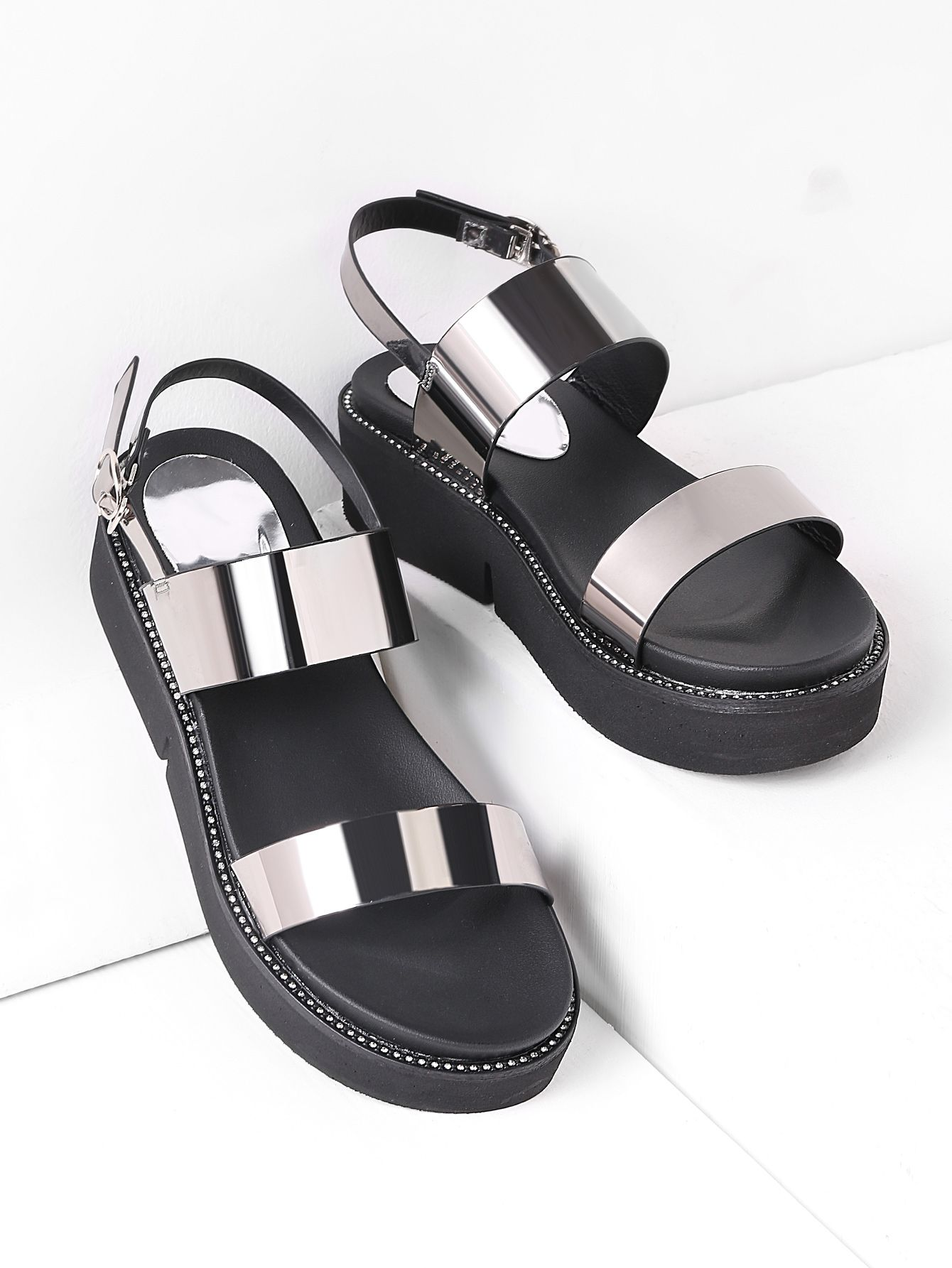 c9b8fa3e5f0807 ... SheIn offers Studded Detail Metallic Patent Leather Flatform Sandals  more to fit your fashionable needs.
