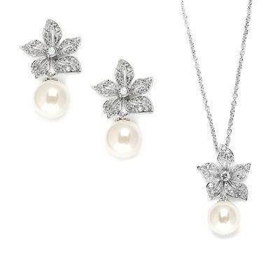 Vintage Floral Pearl Drop Pendant Earrings Set