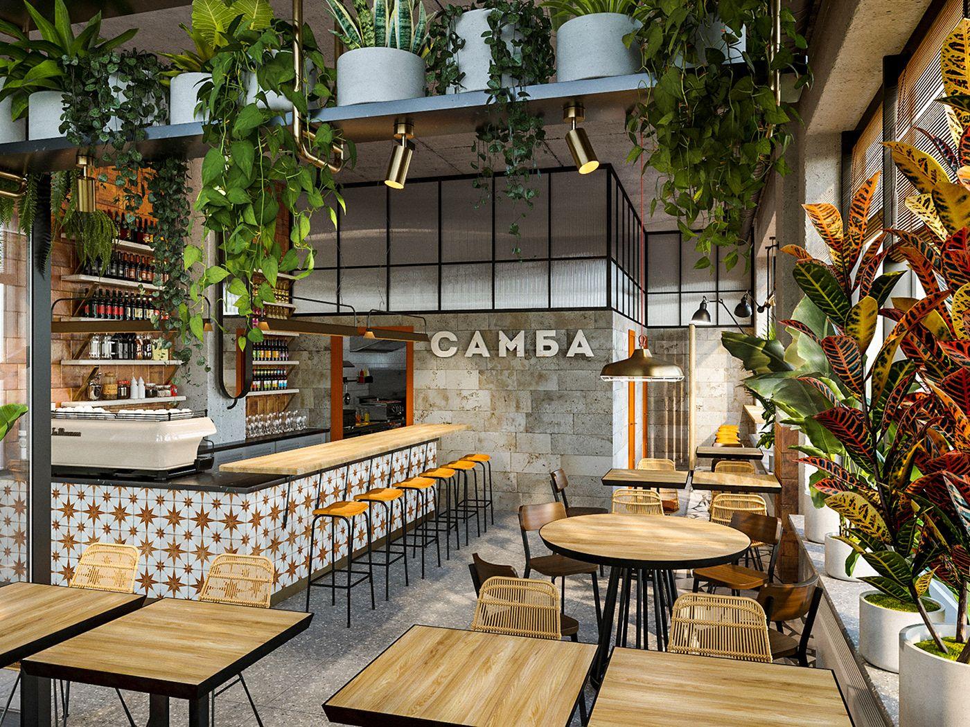 Samba cafe interior on Behance Interiores de tiendas de