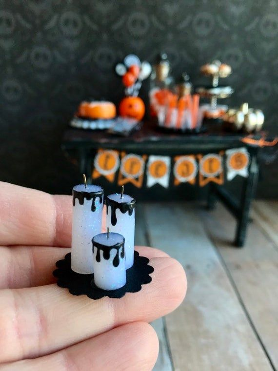 Items similar to Miniature Halloween party table, haunted dollhouse accessories, dollhouse food and drinks on Etsy