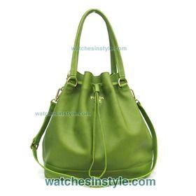 bd94e8d0e6a3 Prada Calf Leather Bucket Bag - Lime Green