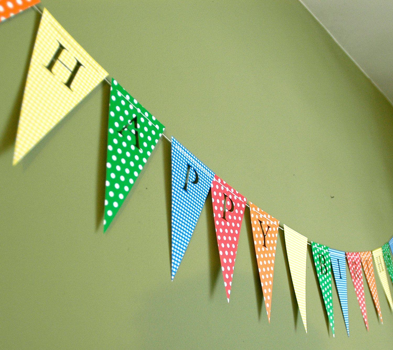 Stripes /& Polka Dot Green Personalised Birthday Bunting