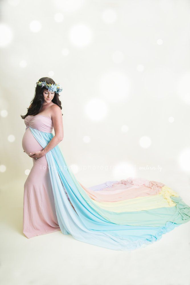 592d44fe4 Image of Chicaboo PROMISE Rainbow Maternity Gown  Multiple Panels  with  SIENNA undergown-PREORDER