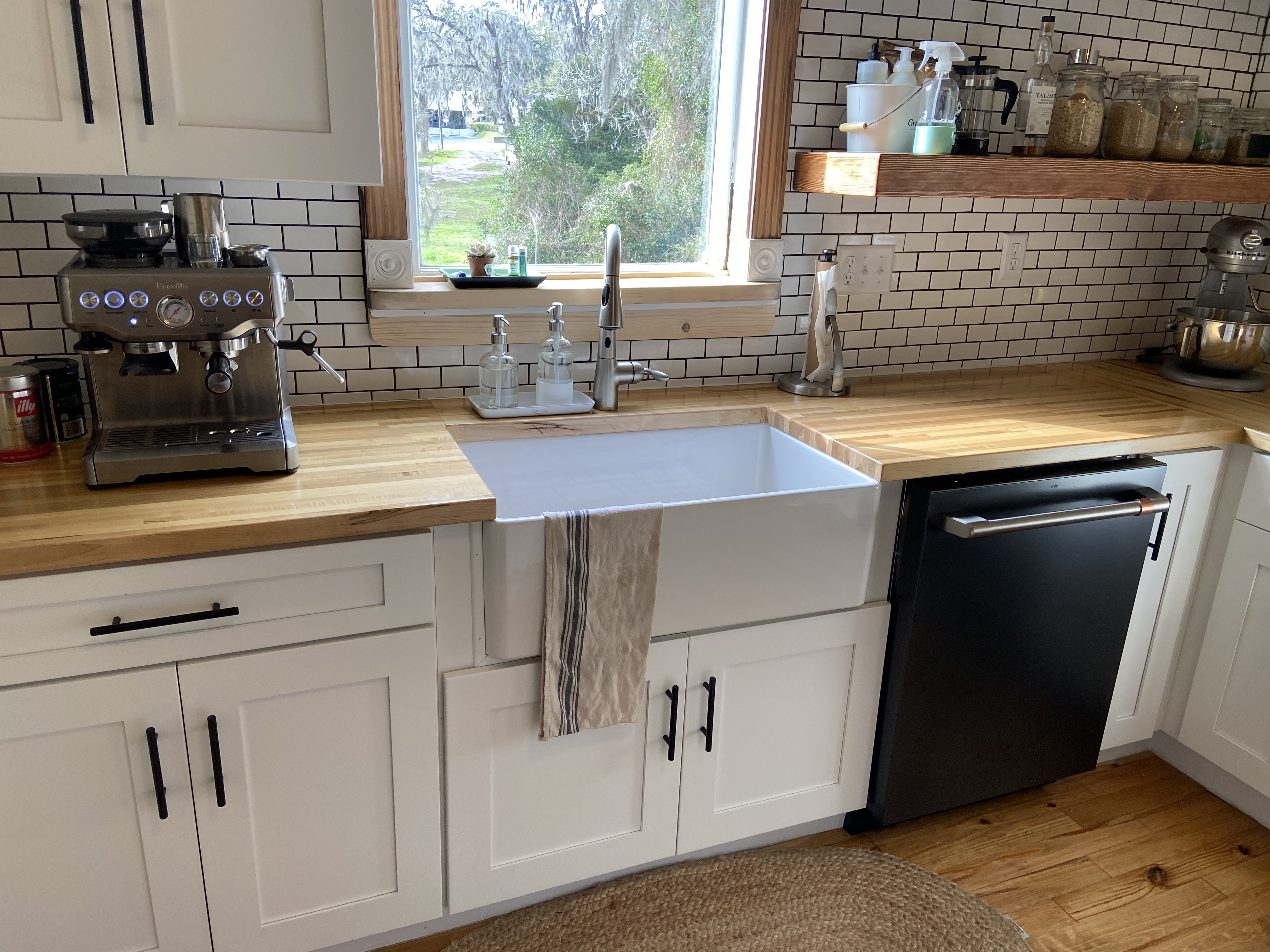 Maple butcher block countertops, wood pine floors, classic ... on Maple Kitchen Cabinets With Black Countertops  id=84287