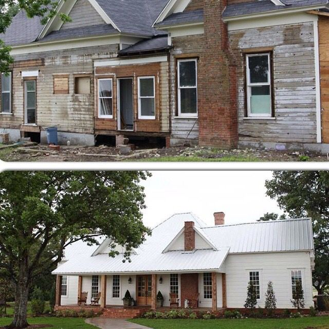 fixer upper before and after farmhouse dream front porch home pinterest wohnwelt. Black Bedroom Furniture Sets. Home Design Ideas