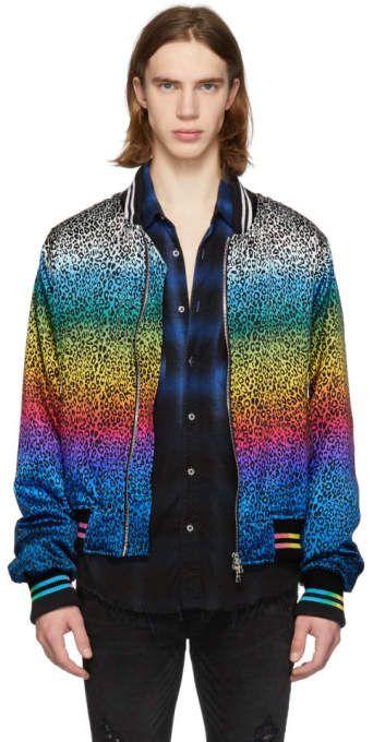 85e07950d Amiri Black and Multicolor Silk Rainbow Leopard Bomber Jacket in ...