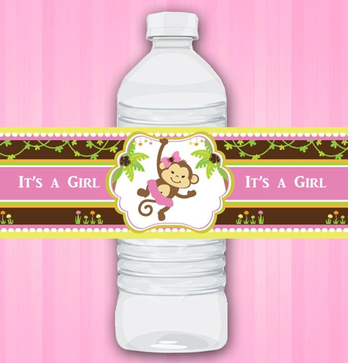 Baby Shower Water Bottle Labels | Water Bottle Wraps Labels For Pink Girl  Monkey .