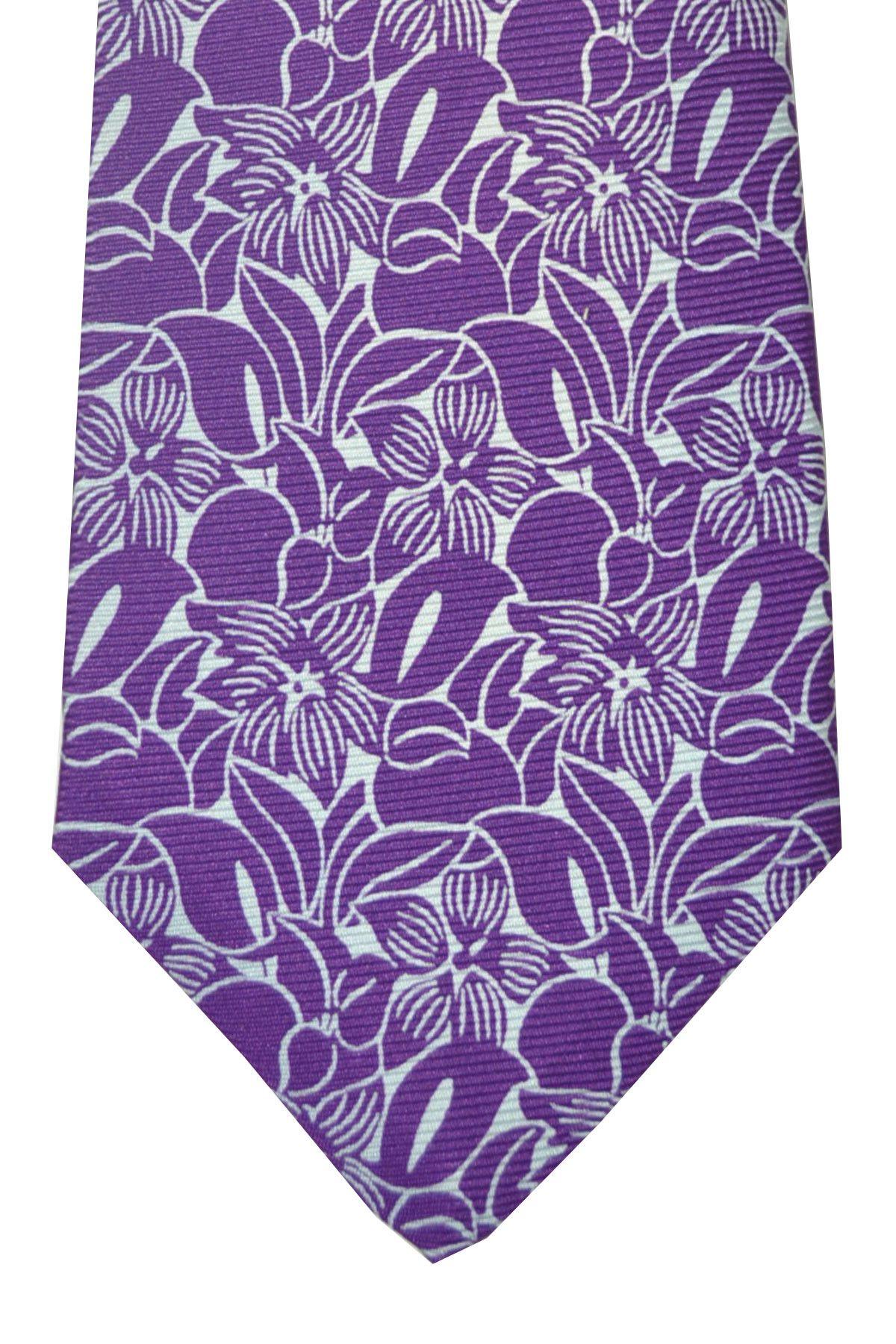 Beautiful purple floral Kiton tie, sevenfold